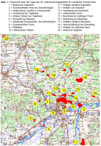 Übersichtskarte zu den untersuchten Waldgebieten